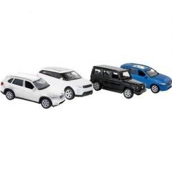 4 legetøjsbiler i metal skala 1:60
