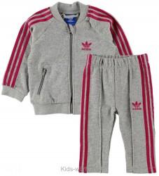 adidas Originals Sweatsæt - Gråmeleret m. Pink