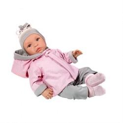 Asi Dukke Leonora med gråt og lyserødt sæt tøj
