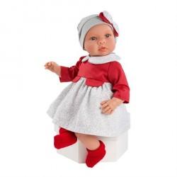 Asi Dukke Leonora med rød og grå kjole