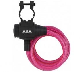 Axa - Zipp - Spirallås - 1200x8mm - Med nøgle - Pink