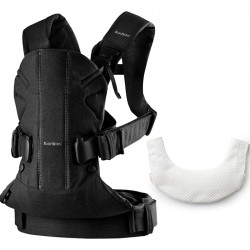 Baby Carrier One (Black,CottonMix) with Bib for BC One Tencel (Hvid)
