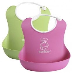 Babybjörn soft bib 2-pack - Green/Pink