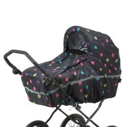BabyTrold regnslag kombivogn - Sort med prikker