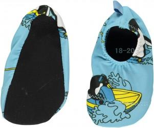 Badesko fra Småfolk - Anti-skrid - Surfer pingvin - Air blue