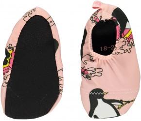 Badesko fra Småfolk - Anti-skrid - Surfer pingvin - Silver pink