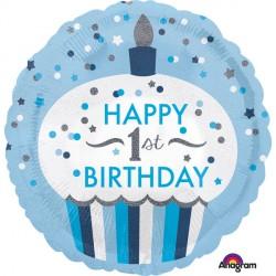Ballon - Folie - 1st Birthday Cupcake Boy (43cm)