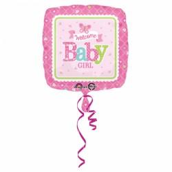 Ballon - Folie - Welcome Baby Girl (43cm)