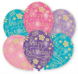 Balloner - Latex - Happy Birthday - Floral (6 stk)