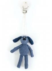 Barnevognsophæng fra Smallstuff - Håndhæklet - Hund - Blå