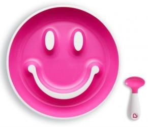 Begynder tallerken m. sugekop og ske - Munchkin Smilen Scoop - Pink