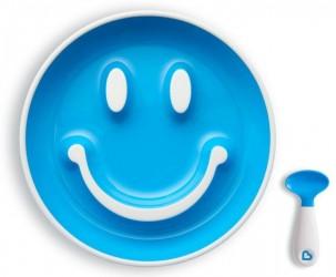 Begynder tallerken m. sugekop og ske - Munchkin Smilen Scoop - Turkis
