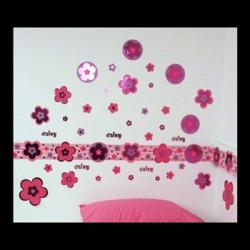 Blomster Vægbort 5 m. incl. Wallstickers