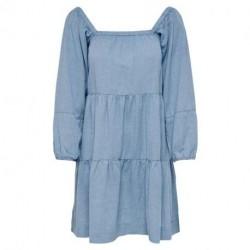 Blue Glow ONLJANE L/S SQUARED NECK DRESS WVN 15207376 fra Only
