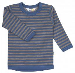 Bluse i blå/brun stribet uld-bomuld