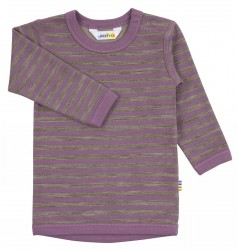 Bluse i lilla/brun stribet uld-bomuld