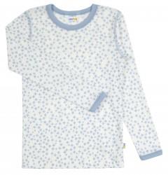 Bluse til større drenge i lyseblå og hvid uld-silke