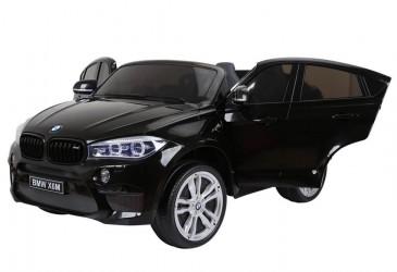 BMW X6 Sort 12V, 2 personers, gummihjul og lædersæde