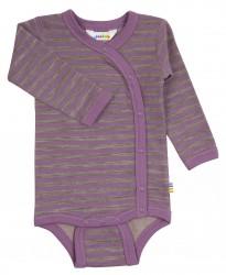 Body med sideluk i lilla/brun stribet uld-bomuld