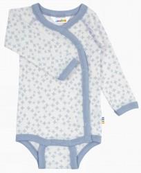 Body med sideluk i lyseblå og hvid uld-silke
