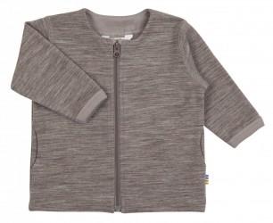Brun cardigan med lynlås i uld-bomuld
