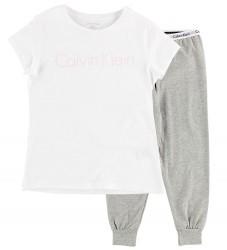 Calvin Klein Nattøj - Hvid/Gråmeleret m. Logo
