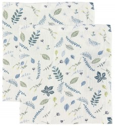 Cam Cam Stofble - 72x72 - 2-pak - Pressed Leaves Blue