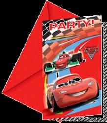 CARS 2 - Invitationer & kuvert - 6 stk.