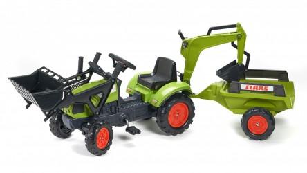 Claas Arion 410 Pedal Traktor m/Frontskovl + Trailer + Gravekran