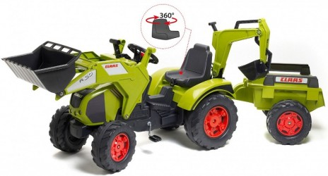 Claas Axos Traktor m/Frontskovl + Gravekran + Anhænger