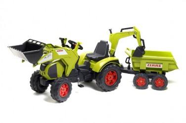 Claas Axos Traktor m/Frontskovl + Gravekran + Maxi Anhænger