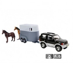 Country Car med hestetrailer og 2 heste indeni