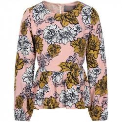 Creamie Bluse - Wallpaper Flowers - Rose Smoke