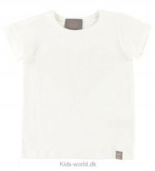 Creamie T-shirt - Creme m. Paillet Hjerte
