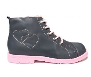 Dawid sneakers med lynlås, grå/rosa - pigesko med støtte