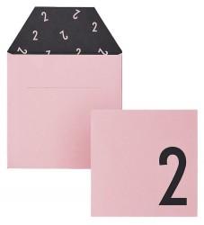 Design Letters Kort m. Konvolut - 2 - Rosa