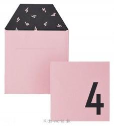 Design Letters Kort m. Konvolut - 4 - Rosa