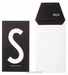 Design Letters Kort m. Konvolut - Sort m. S