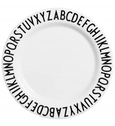 Design Letters Melamin Tallerken - 20cm - Hvid m. Alfabet