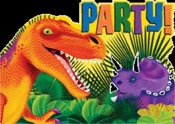 Dinosaurus - Invitation & kuvert - 8 stk.