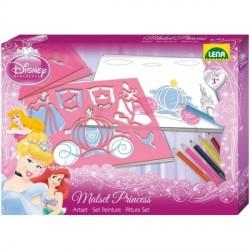 Disney Prinsesse Tegneskabelon sæt m/blyanter m.v. til børn