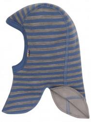 Elefanthue i blå/brun stribet uld-bomuld