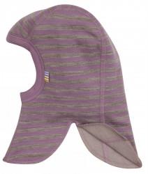 Elefanthue i lilla/brun stribet uld-bomuld