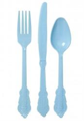Engangsbestik i plast fra Rice - Blå (24 dele)