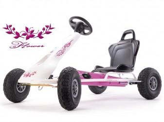 Ferbedo Go-Kart Air Racer ''Flower'', Hvid/Pink (5-11 år)