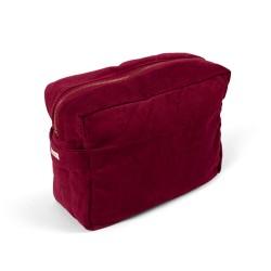 Filibabba Toilettaske (stor) - fløjl, Deeply red