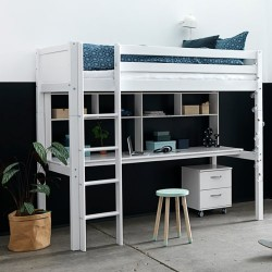 Flexa Basic høj børneseng med skrivebord og kommode - Nordic