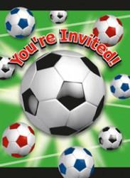 Fodbold - Invitation & kuvert - 8 stk.