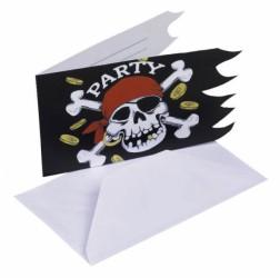 Fødseldag invitation - Pirat (6 stk)