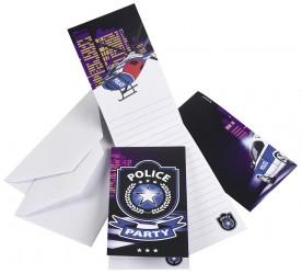 Fødselsdag invitation - Police (8 stk)